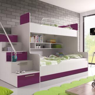 Patrová postel RAJ 2 levá, bílá/fialový lesk