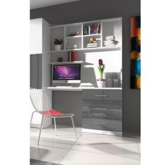 Regál s psacím stolem RAJ 3, bílá/šedý lesk
