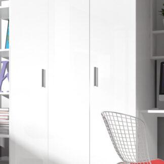 Šatní skříň RAJ 3, bílá/bílý lesk