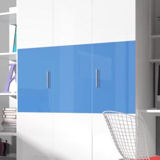 Šatní skříň RAJ 3, bílá/modrý lesk