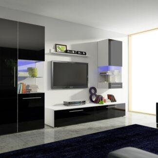 Obývací pokoj NICEA 2, bílá/černý lesk