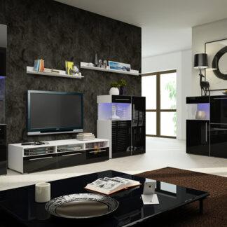 Obývací pokoj NICEA 5, bílá/černý lesk