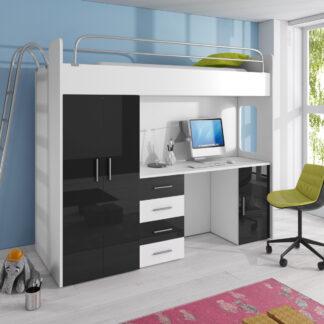 Patrová postel se skříní a psacím stolem RAJ 4D, bílá/černá
