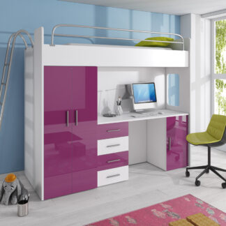 Patrová postel se skříní a psacím stolem RAJ 4D, bílá/fialová