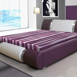 Čalouněná postel RIVA II 160x200 cm, bílá ekokůže/fialová ekokůže