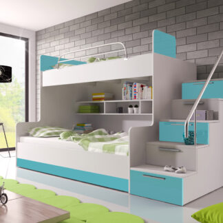 Patrová postel RAJ 2 pravá, bílá/tyrkysový lesk