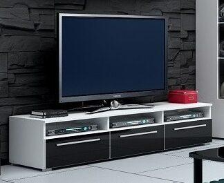 ROMA RTV stolek 150, bílá/černý lesk
