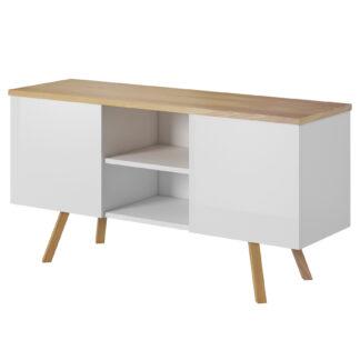 LIMA televizní stolek, bílá/dub wotan