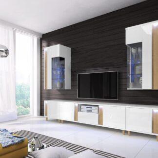 MARCO obývací stěna, bílá/dub