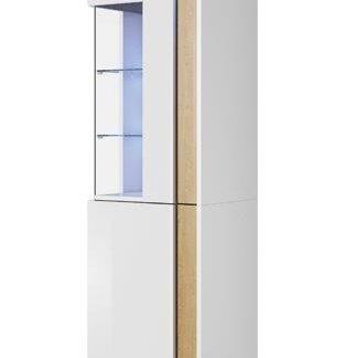 MARCO vitrína stojící 50/200 pravá, bílá/dub