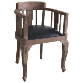 XXXLutz Křeslo Dřevo Textil Černá Barvy Sheesham Ambia Home