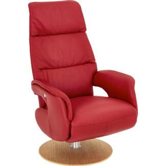 XXXLutz Relaxační Křeslo Dřevo Kůže Červená Barvy Dubu Welnova