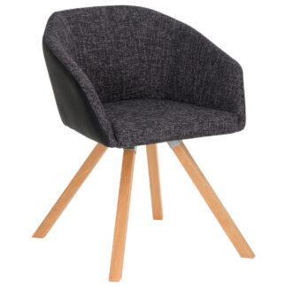 XXXLutz Židle S Područkami Antracitová Černá Barvy Dubu Dieter Knoll