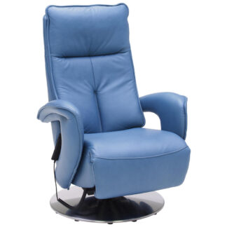 XXXLutz Relaxační Křeslo Kůže Modrá Valdera