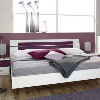 Asko Postel s nočními stolky Burano 180x200 cm, bílá/fialová