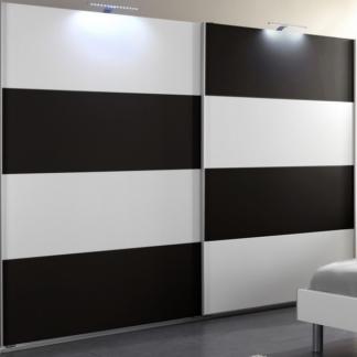 Asko Šatní skříň Easy Plus, 225 cm, bílá/černé sklo