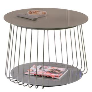 Asko Konferenční stolek Riva, kov/cappuccino sklo