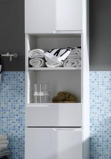 Asko Koupelnová vysoká skříňka Spice, lesklá bílá
