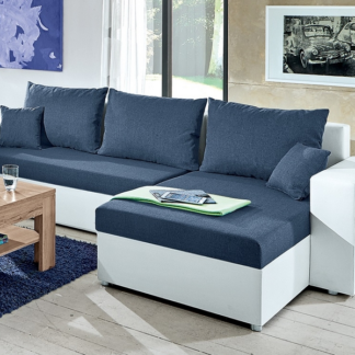 Asko Rohová sedací souprava Samba II, bílá ekokůže/tmavě modrá látka