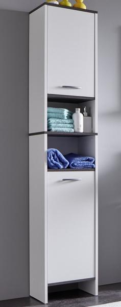 Asko Koupelnová vysoká skříňka California, bílá/šedý dub