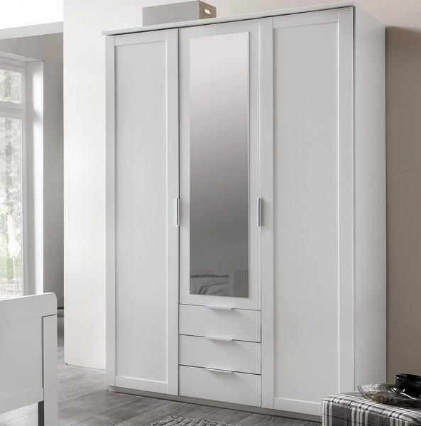 Asko Šatní skříň Nadja, 135 cm, bílá/zrcadlo