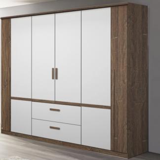 Asko Šatní skříň Bernau, 226 cm, dub stirling/bílá, otočné dveře