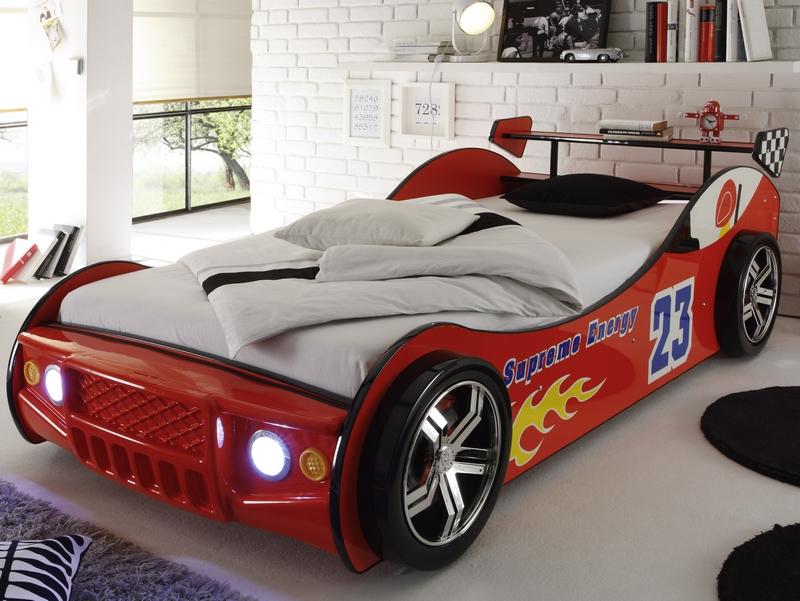 Asko Dětská postel Energy 90x200 cm, červená závodnička s osvětlením