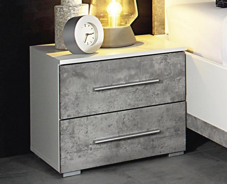 Asko Noční stolek Siegen, bílý/šedý beton