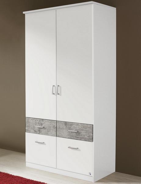 Asko Šatní skříň Bremen, 91 cm, bílá/šedý beton