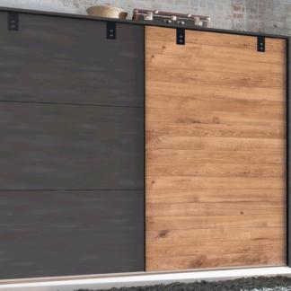 Asko Šatní skříň s posuvnými dveřmi Detroit, 250 cm, prkenný dub/antracitová ocel