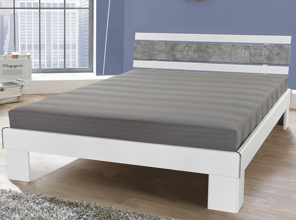 Asko Postel Rhone 140x200 cm, bílá/šedý beton