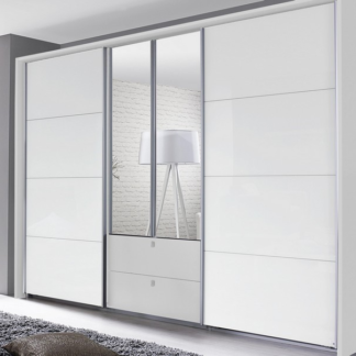 Asko Šatní skříň Kombino, bílá/bílé sklo