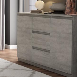 Asko Komoda se 3 zásuvkami Carlos, šedý beton, 120 cm