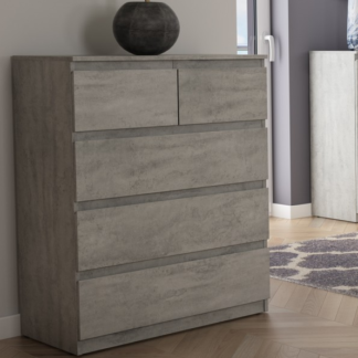 Asko Komoda s 5 zásuvkami Carlos, šedý beton, 75 cm