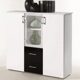 Asko Komoda s prosklením Lift, bílá/černá