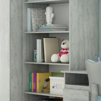 Asko Regál Carlos, šedý beton, 75 cm