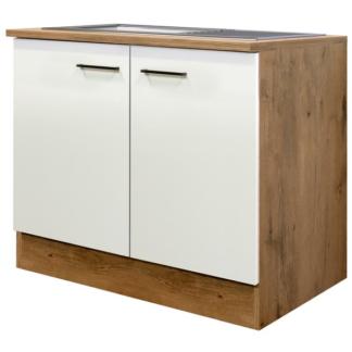Asko Kuchyňská skříňka s dřezem Avila DSPU100ES, dub lancelot/krémová, šířka 100 cm