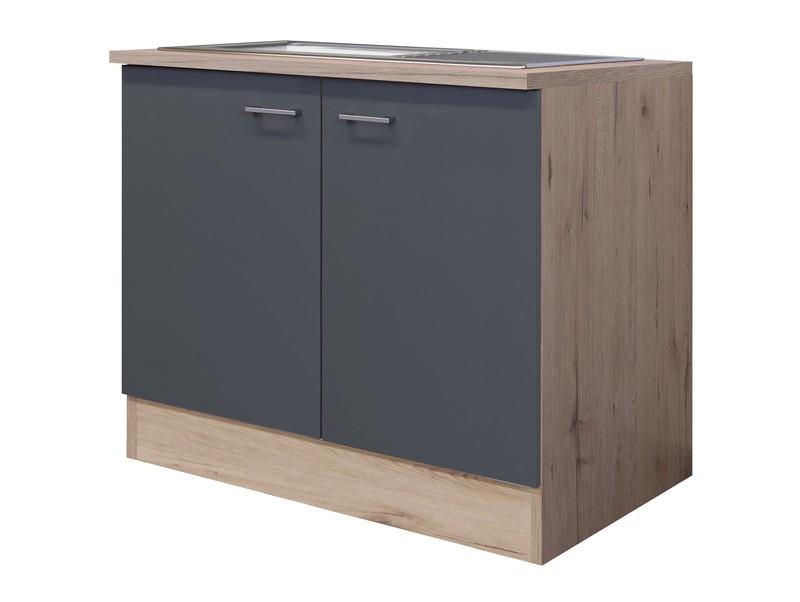 Asko Kuchyňská skříňka s dřezem Tiago DSPU 100ES, dub sonoma/šedá, šířka 100 cm