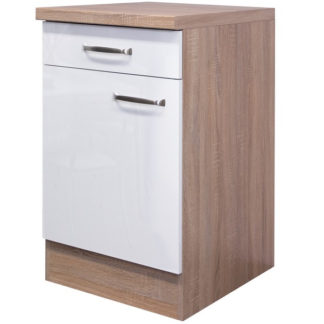 Asko Dolní kuchyňská skříňka Valero US50, dub sonoma/bílý lesk, šířka 50 cm