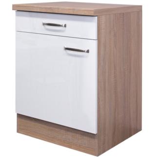 Asko Dolní kuchyňská skříňka Valero US60, dub sonoma/bílý lesk, šířka 60 cm