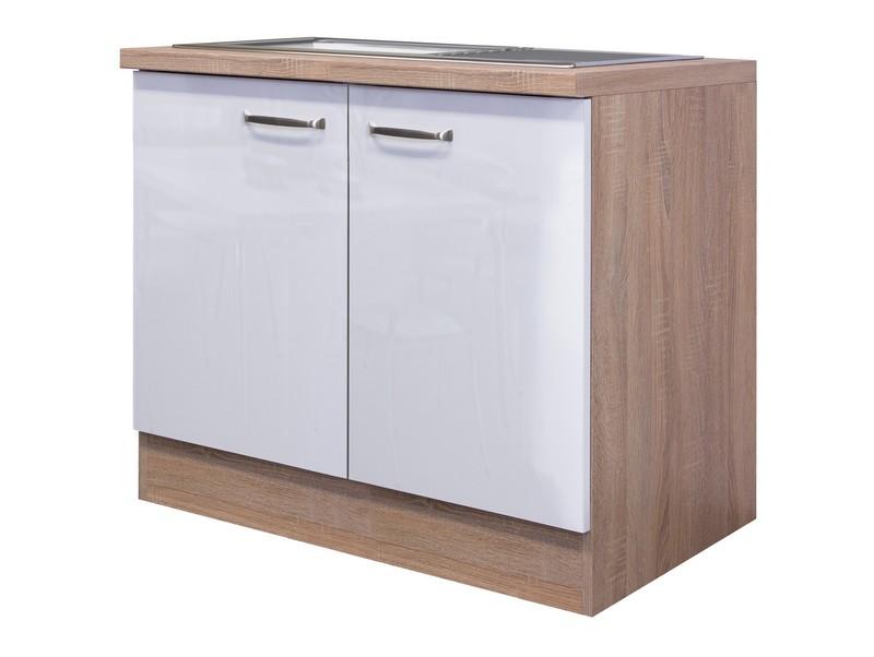 Asko Kuchyňská skříňka s dřezem Valero DSPU 100ES, dub sonoma/bílý lesk, šířka 100 cm