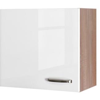 Asko Horní kuchyňská skříňka Valero H60, dub sonoma/bílý lesk, šířka 60 cm