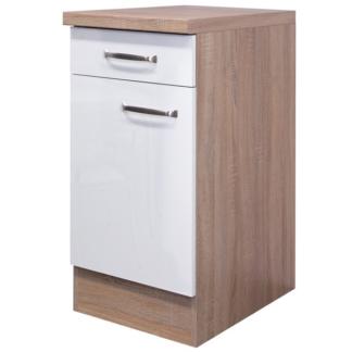 Asko Dolní kuchyňská skříňka Valero US40, dub sonoma/bílý lesk, šířka 40 cm