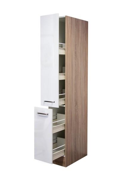 Asko Vysoká kuchyňská skříň Valero AHS30, dub sonoma/bílý lesk, šířka 30 cm